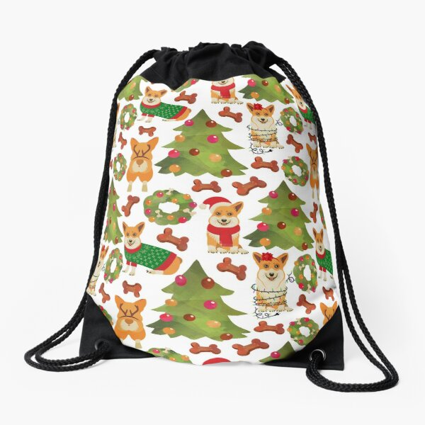 Corgi Christmas White  Drawstring Bag