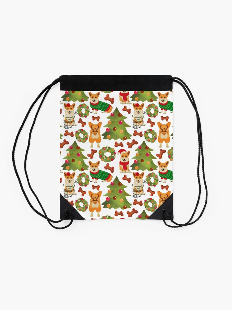 Alternate view of Corgi Christmas White  Drawstring Bag