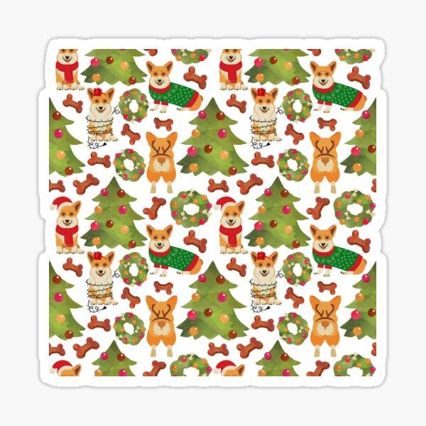 Corgi Christmas White  Sticker