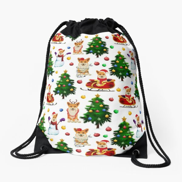 Corgis Christmas Pattern White Drawstring Bag