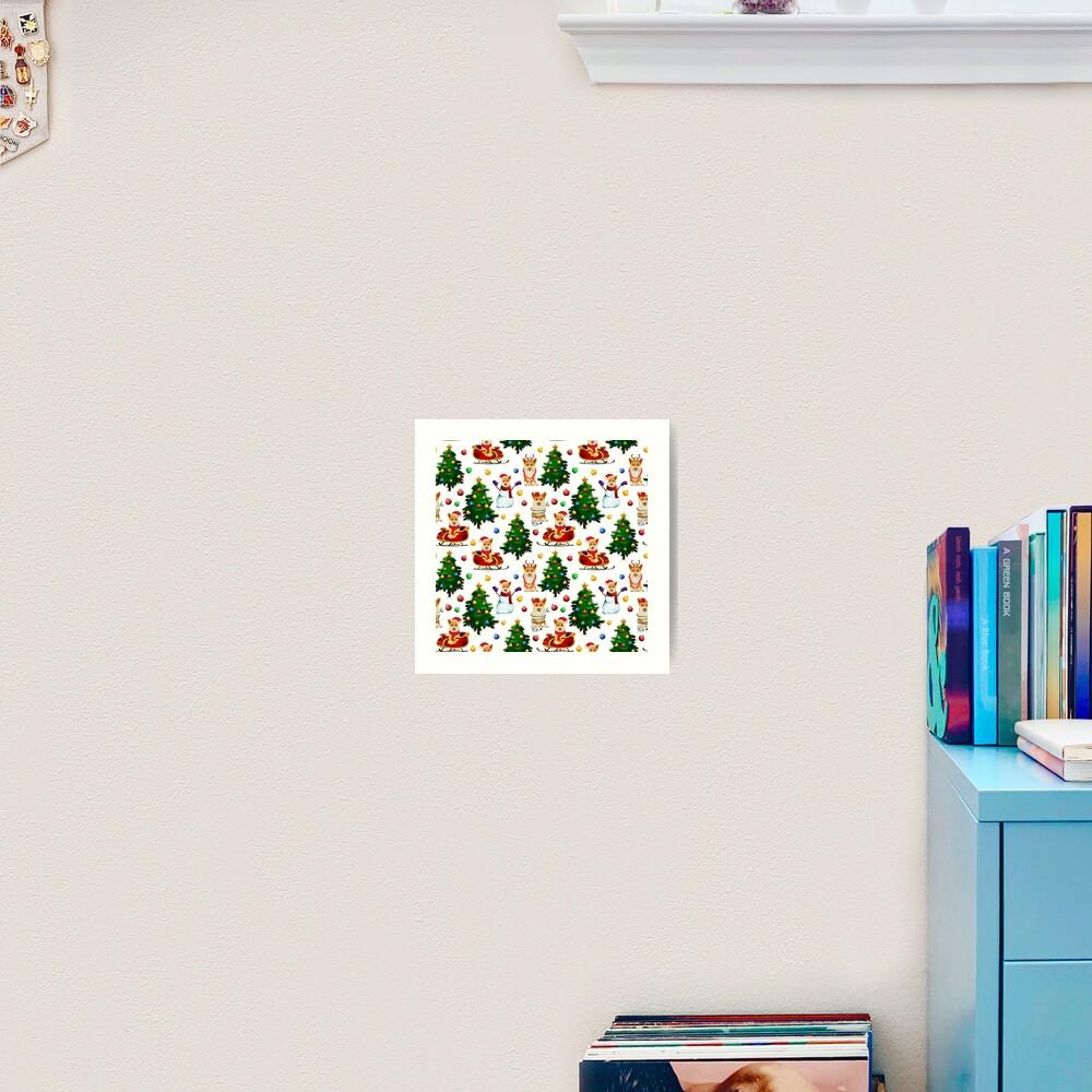 Corgis Christmas Pattern White Art Print