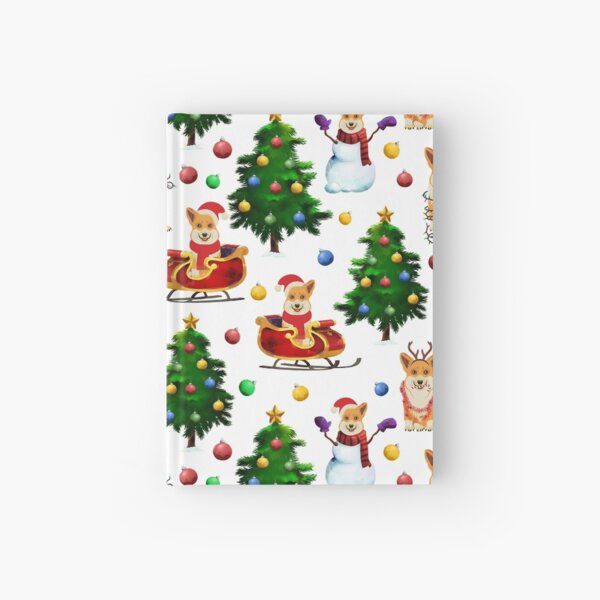 Corgis Christmas Pattern White Hardcover Journal