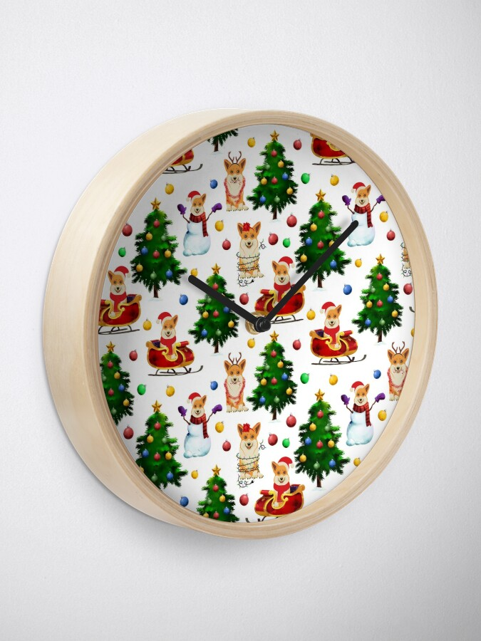 Alternate view of Corgis Christmas Pattern White Clock