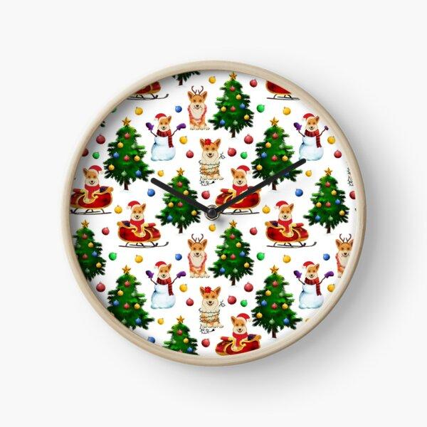 Corgis Christmas Pattern White Clock