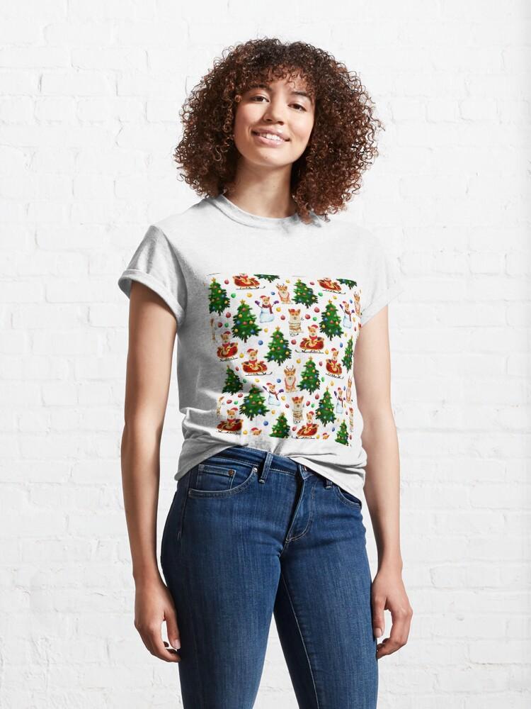 Alternate view of Corgis Christmas Pattern White Classic T-Shirt