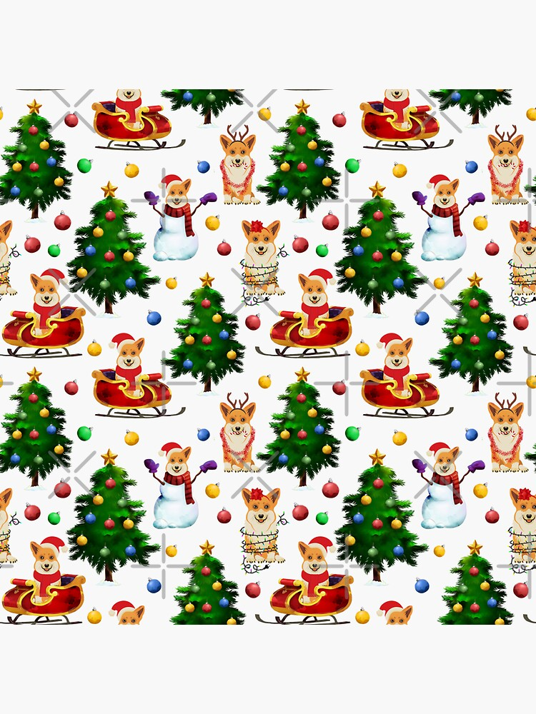 Corgis Christmas Pattern White by Corgiworld