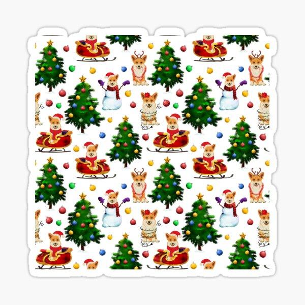 Corgis Christmas Pattern White Sticker