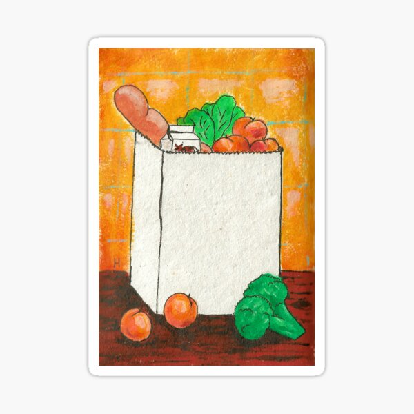 Paper bag with groceries Sticker