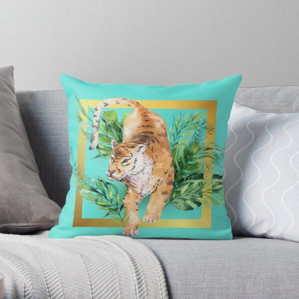 Watercolour Tiger Jumping Through A Gold Frame Throw Pillow
