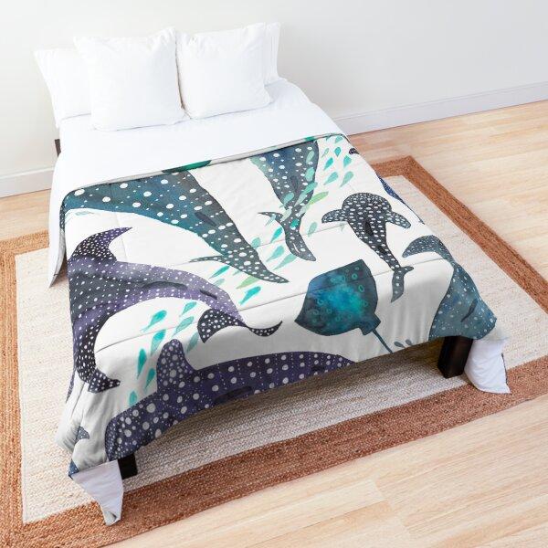 Whale Shark, Ray & Sea Creature Play Print  Comforter