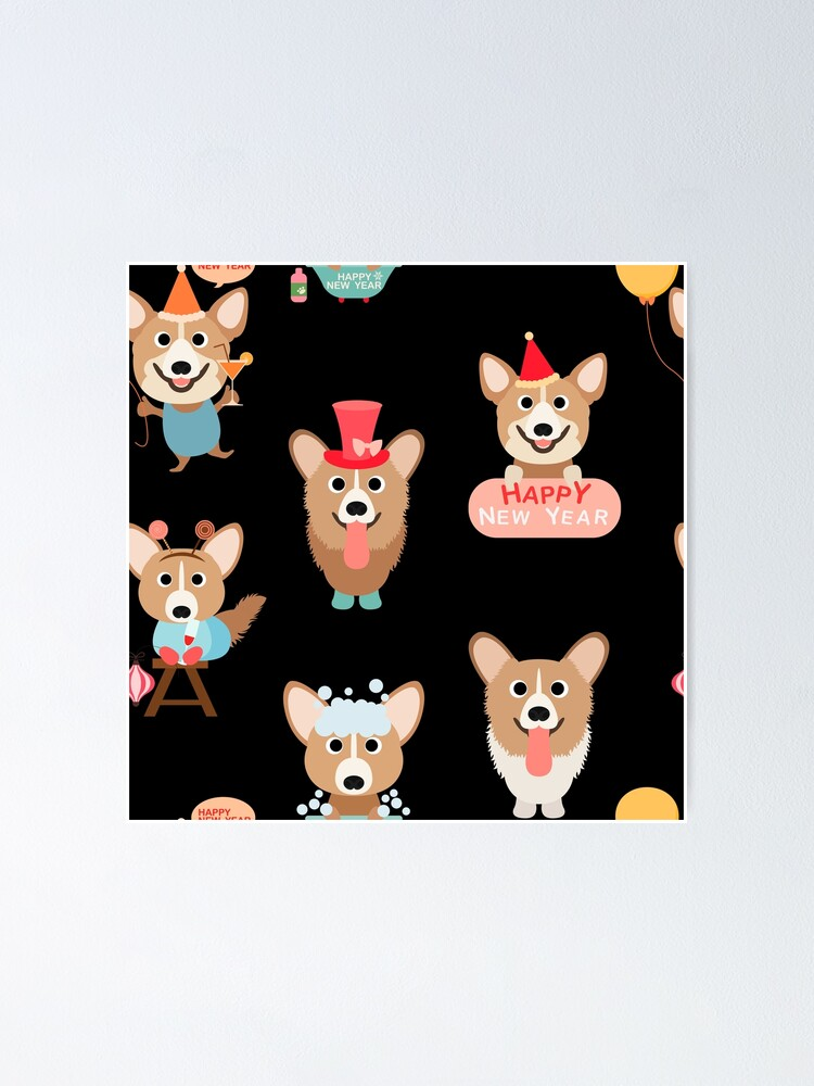Alternate view of Corgis - Happy New Year Poster