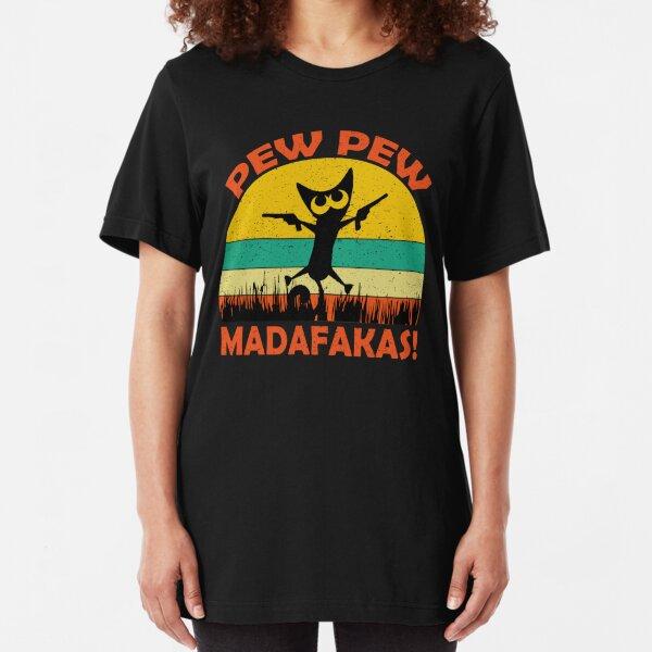 retro vintage Cat Pew Pew Madafakas  Slim Fit T-Shirt
