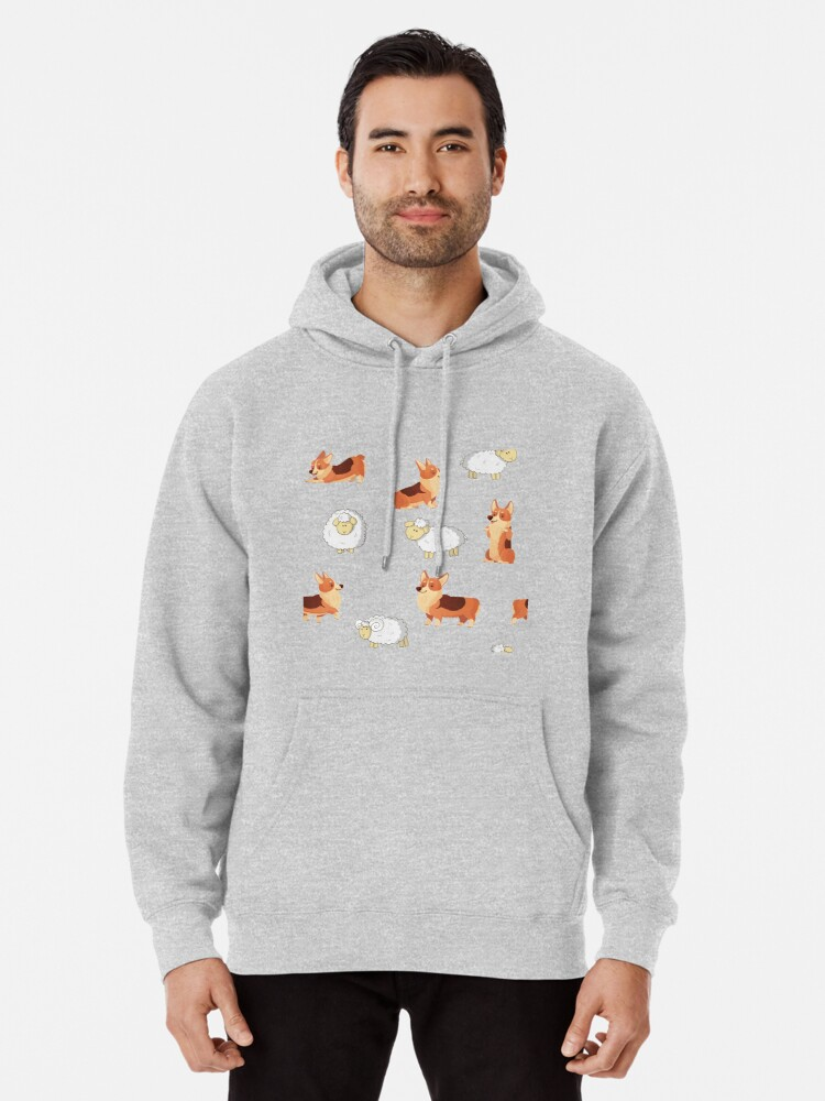 Alternate view of Corgis on the farm  Pullover Hoodie