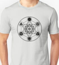 Platonic Solids, Metatrons Cube, Flower of Life Slim Fit T-Shirt