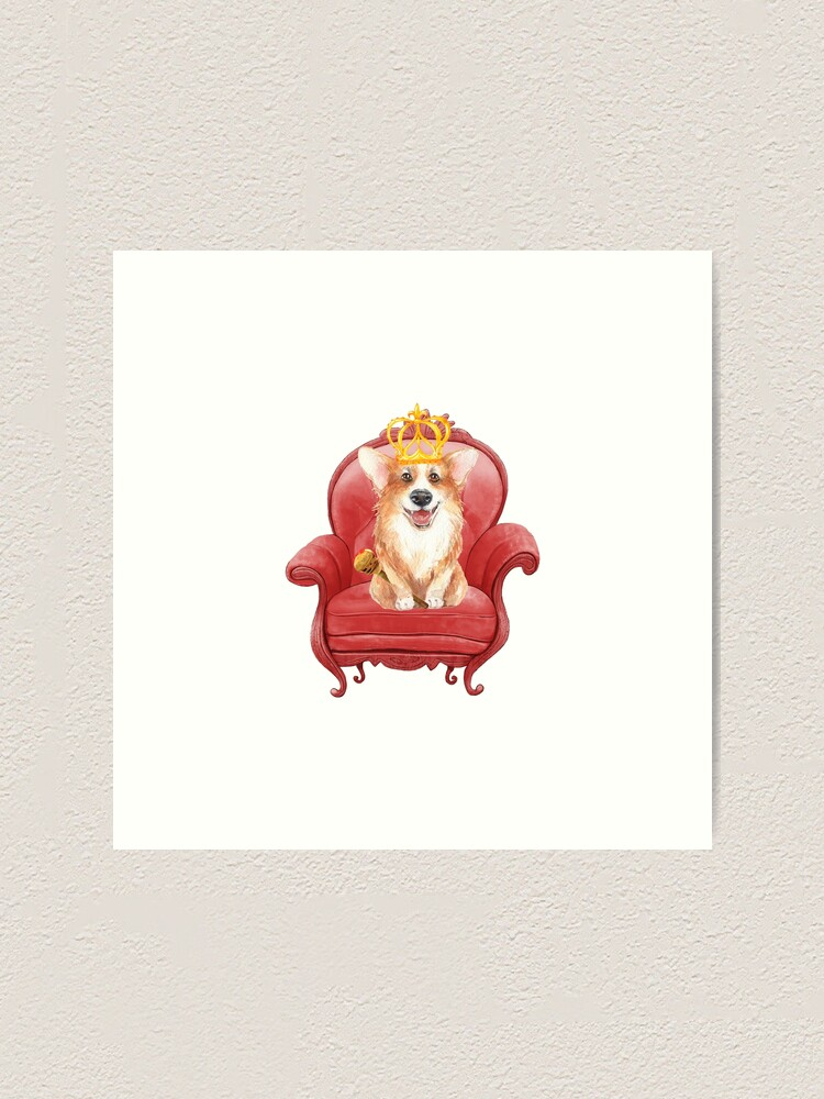 Alternate view of Queen Corgi Elizabeth  Art Print