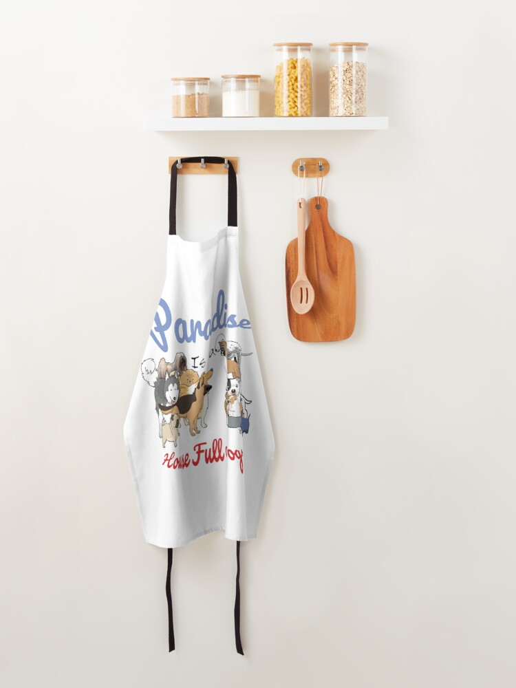 Alternate view of Paradise is a House full of Dogs Apron