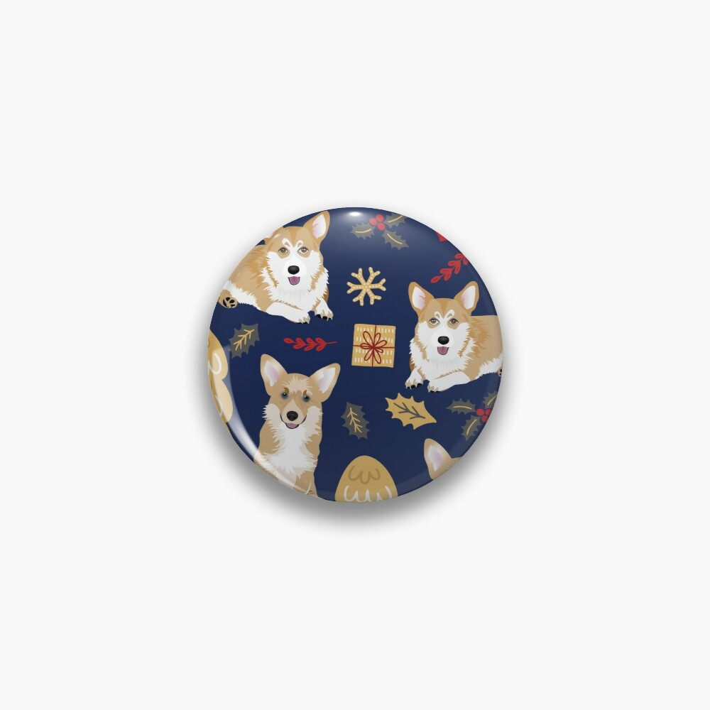Merry Corgmess - Corgi Christmas Pattern - blue Pin