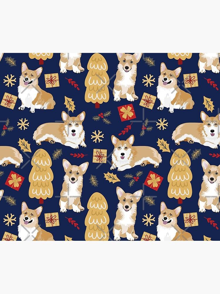 Merry Corgmess - Corgi Christmas Pattern - blue by Corgiworld