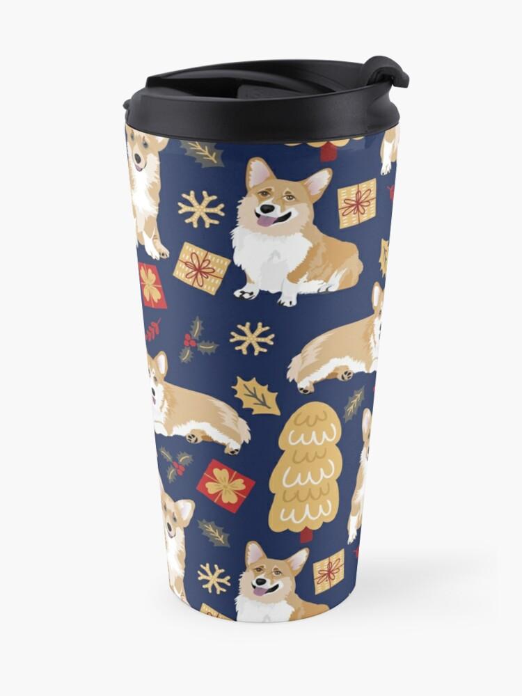 Alternate view of Merry Corgmess - Corgi Christmas Pattern - blue Travel Mug
