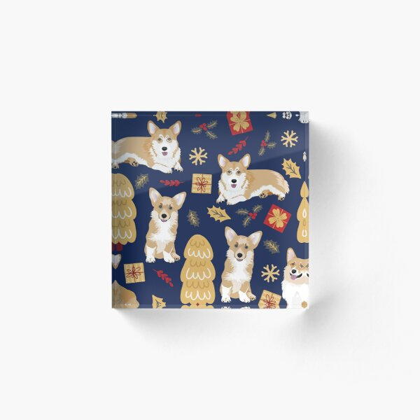 Merry Corgmess - Corgi Christmas Pattern - blue Acrylic Block