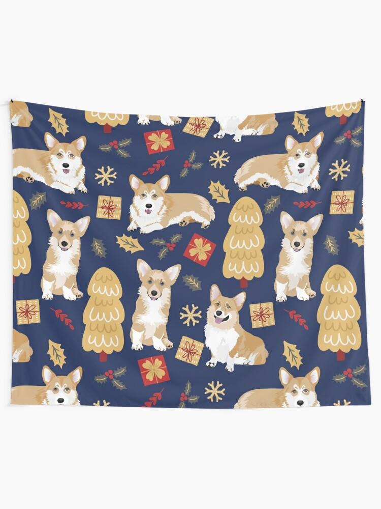 Alternate view of Merry Corgmess - Corgi Christmas Pattern - blue Tapestry