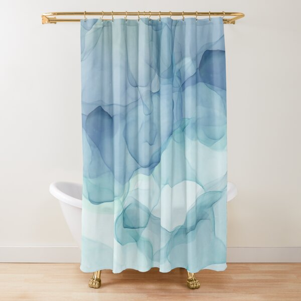 Blue Teal Flowing Abstract Painting  Shower Curtain