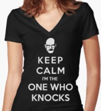 Keep Calm Im The One Who Knocks Women's Fitted V-Neck T-Shirt
