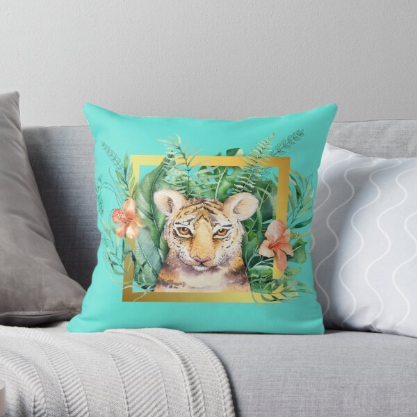 Watercolour Little Tiger In A Gold Frame Throw Pillow