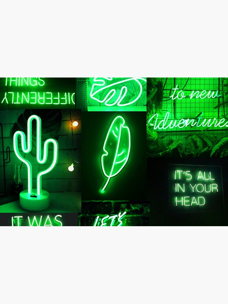 Green Neon Lights Aesthetic Collage Laptop Skin By Snowflake6 Redbubble