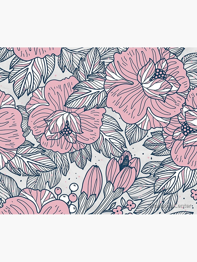 Vintage floral pattern on pastel marble by GloriannaCenter