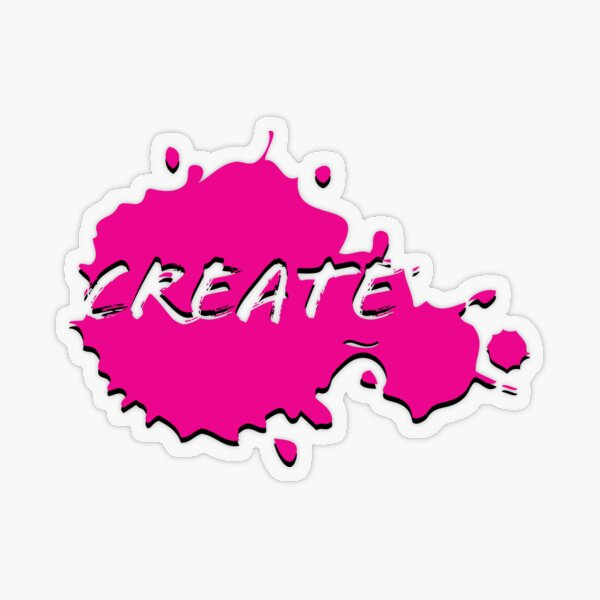 Create Paint Splatter - Bright Pink Transparent Sticker