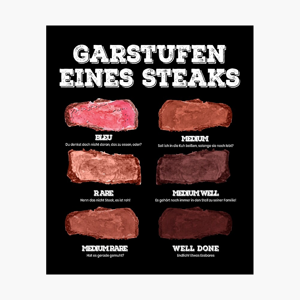 Cooking Levels Of A Steak Meat Grill Bbq Poster By Mooon85 Redbubble