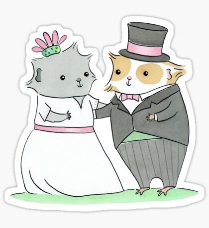 Guinea-pig Wedding Sticker