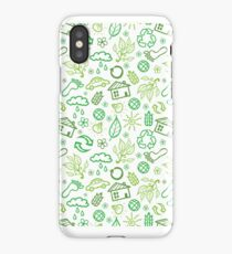 Eco symbols line art pattern iPhone Case