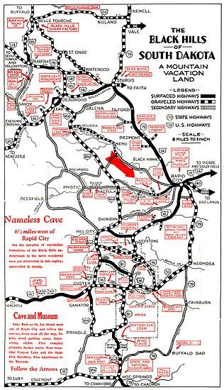 1938 Black Hills South Dakota Road Map\