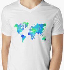 Blue-Green Painted World Map Mens V-Neck T-Shirt