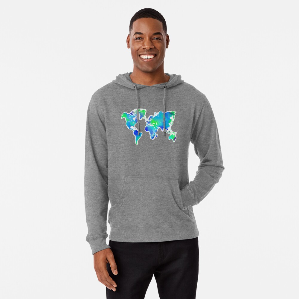 World Map Sweater.Blue Green Painted World Map Lightweight Hoodie By Emifrohn Redbubble