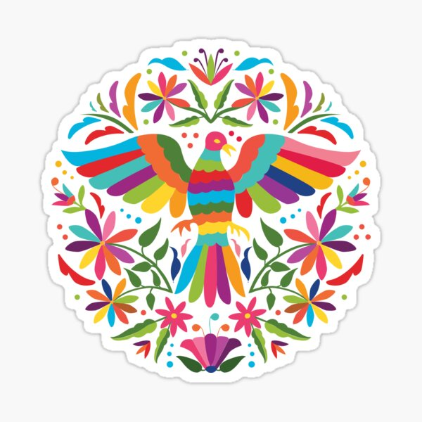 Mexican Otomí Circle Design Pegatina