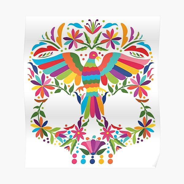Mexican Otomí Skull Design Póster