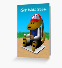 Get Well Soon Baseball Dog  Greeting Card