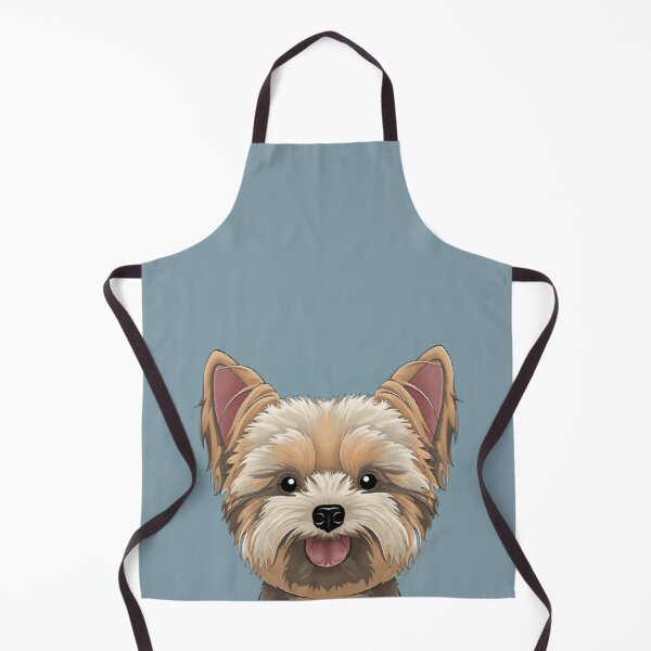 Peeking Yorkie (Flower Version) Apron