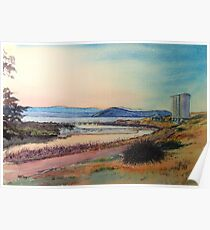 Sunset over Bernacchi Creek and the Silos, Maria Island. Poster