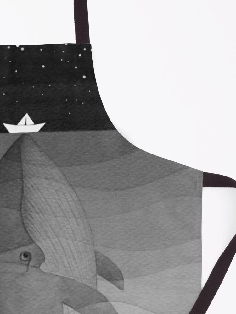 Alternate view of Whale, black & white Apron