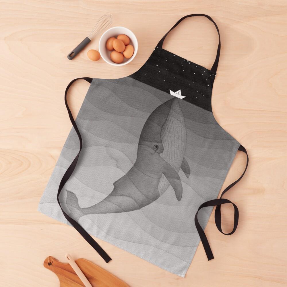 Whale, black & white Apron