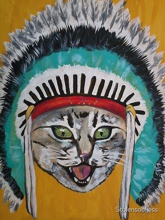Cat in Indian head dress  by Stolensouljess