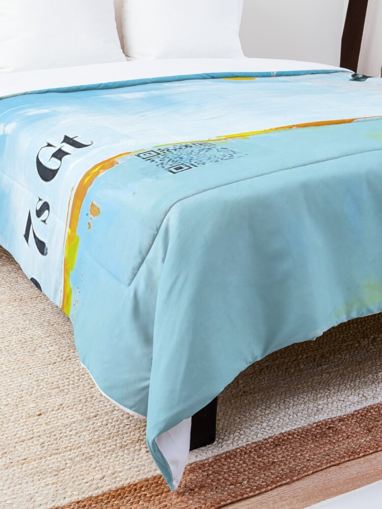 Alternate view of Picture of an original painting, blue birds Comforter