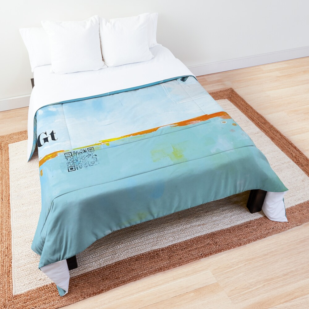 Picture of an original painting, blue birds Comforter