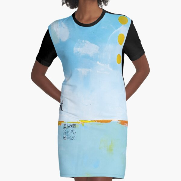 Picture of an original painting, blue birds Graphic T-Shirt Dress