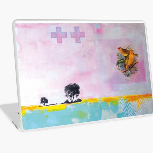 Picture of an original painting, yellow birds Laptop Skin
