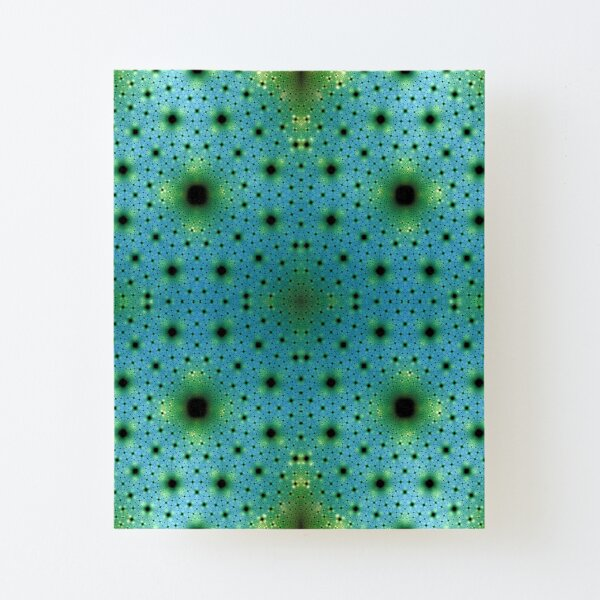 Blue Green Sea of Cells Fractal Art Canvas Mounted Print